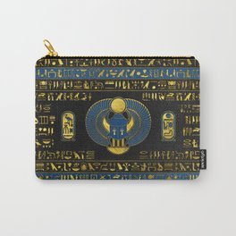 Golden Egyptian Scarab Ornament on  leather Carry-All Pouch