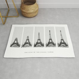 1888-1889 The Rise of the Eiffel Tower Construction Sequence black and white photography Rug