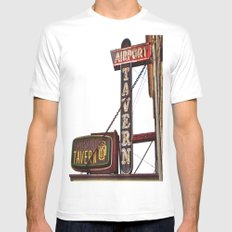 Airport tavern sign MEDIUM White Mens Fitted Tee