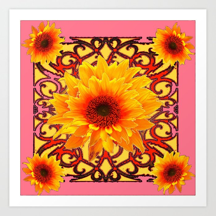 Coral pink yellow sunflowers floral patterns art print by sharlesart coral pink yellow sunflowers floral patterns art print mightylinksfo