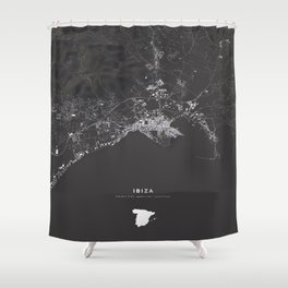 Ibiza City Map  Shower Curtain