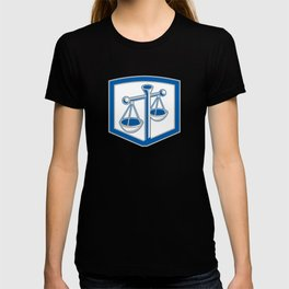 Scales of Justice Shield Retro T-shirt