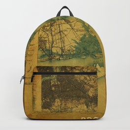 Brooklin 1898 vintage map, usa old vintage maps Backpack