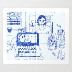 blue selfie Art Print