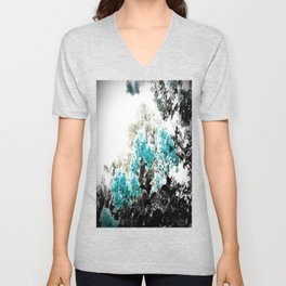 Turquoise & Gray Flowers Unisex V-Neck