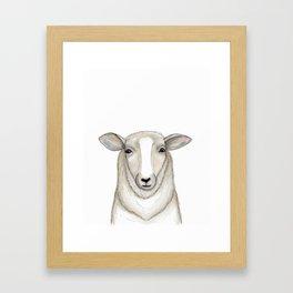 Sheep Drawing, Lamb Art, Farmhouse Decor Framed Art Print