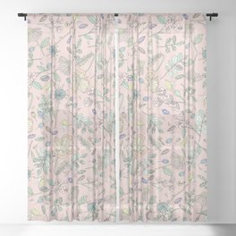 Country Flowers - Pink Rose Sheer Curtain