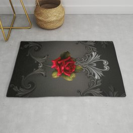 Gothic Glamour Red Rose Black Ornamental Glam Rug