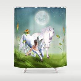 Einhorn und Fee - Unicorn and Fairy Shower Curtain