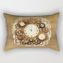 Steampunk Vintage Style Clocks and Gears Rectangular Pillow