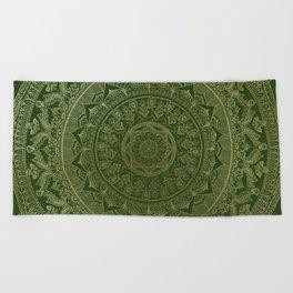 Mandala Royal - Green and Gold Beach Towel