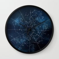 map Wall Clocks featuring Celestial Map by Rose's Creation