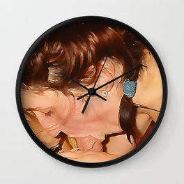 NSFW! Adult content! Good daddy's girl suck it deep, ponytail blow, adult erotic Wall Clock