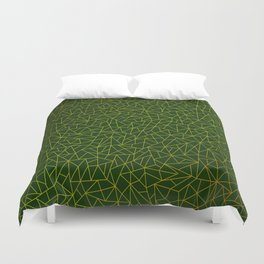 Gold Lowpoly in Green Background Duvet Cover