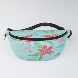 Poinsettia Bouquet Pattern Fanny Pack