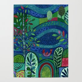 Bird by the Pond Poster