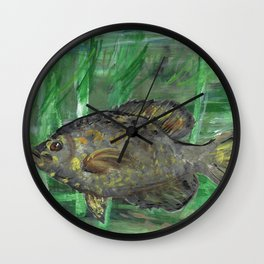 Black Crappie Fish in River Water Wall Clock