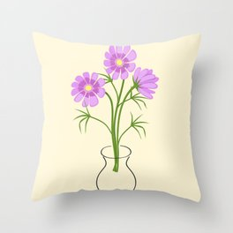 three daisies in the vase Throw Pillow