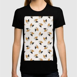 Cute cartoon Japanese bobtail cat face.  T-shirt