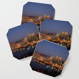 Pittsburgh, Pennsylvania Downtown Night Time River with Bridges Coaster