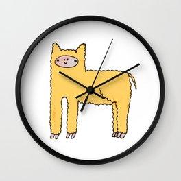 Yellow Cute Fluffy Alpaca Wall Clock