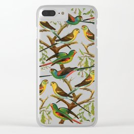 Colorful red green tropical birds parakeets pattern Clear iPhone Case