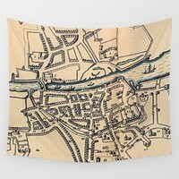 dublin Wall Tapestries featuring Vintage Map of Dublin Ireland (1610) by BravuraMedia