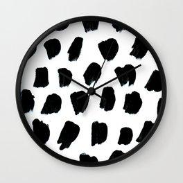 black polk dots Wall Clock