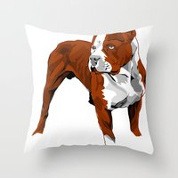 pitbull Throw Pillows featuring Pitbull by Styleuniversal