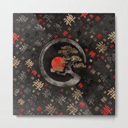 Enso Circle Bonsai Tree on Zen Symbol pattern on black Metal Print