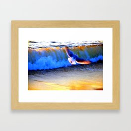 Seagull escaping the waves Framed Art Print