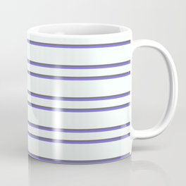 Mint Cream, Dim Grey & Medium Slate Blue Colored Striped Pattern Coffee Mug