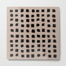 Polka Strokes - Black on Nude Metal Print
