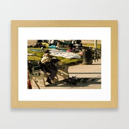 Pigeon Feed - Venice Beach Framed Art Print