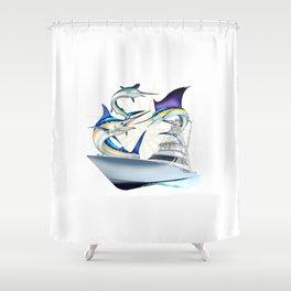 Sail White and Blue Viking Atlantic billfish Shower Curtain
