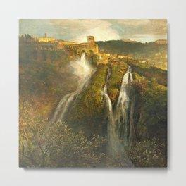 The Waterfalls in the Tiburtine Hills at Tivoli Villa Rome, Italy by Oswald Achenbach Metal Print