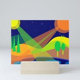 Landscape with 2 moons Mini Art Print
