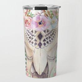 Skull boho and triangles Travel Mug
