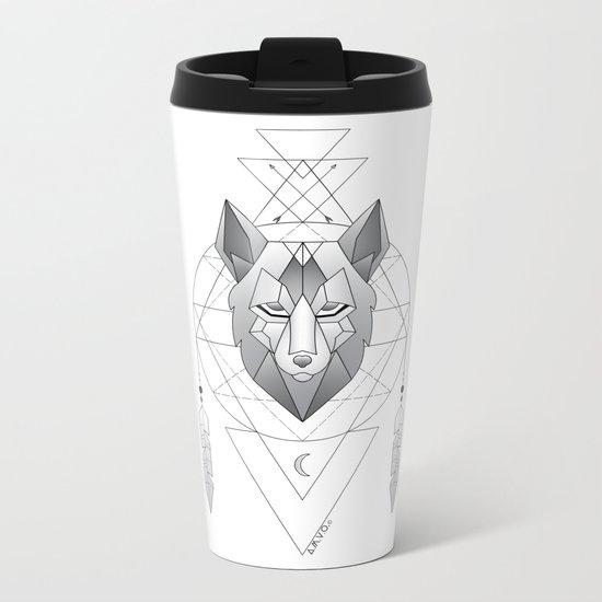 Geometric Wolf Dream Catcher Metal Travel Mug