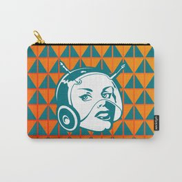 Faces: SciFi lady on a teal and orange pattern background Carry-All Pouch