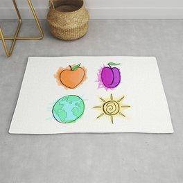 Peach, Plum, Earth, Sun Rug