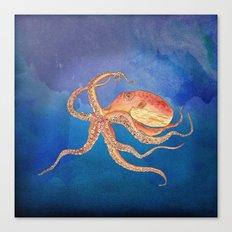 Octopus Blue Canvas Print