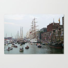 Tall ships in Amsterdam's Harbour Canvas Print