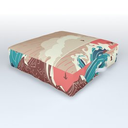 Stylized big waves of ocean or sea at sunset landscape Outdoor Floor Cushion