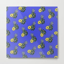 Electric Blue Pineapples Metal Print