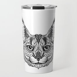 CARACAL / LYNX head. psychedelic / zentangle style Travel Mug