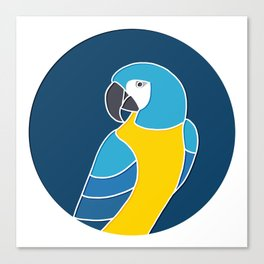 Blue and Yellow Parrot on Dark Blue Canvas Print