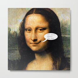 Smirking Mona Lisa Metal Print