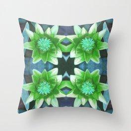 Blue Tropical Bromiliad Panel Throw Pillow