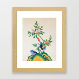 Minhwa: Peony and Two Little Birds (Korean traditional/folk art) Framed Art Print